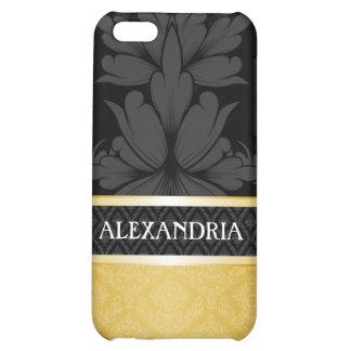 Black & Gold Personalized Damask iPhone 4 Case