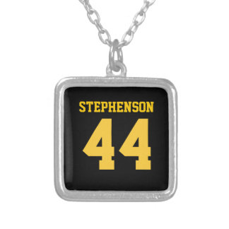 Black Gold Personalized Sports Name Number Square Pendant Necklace