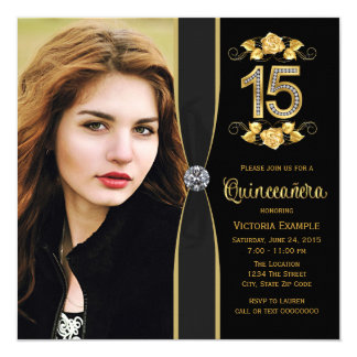 Black Gold Photo Quinceanera Card