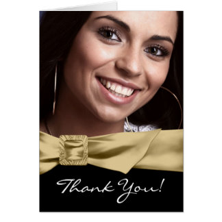 Black Gold Photo Quinceanera Thank You Cards
