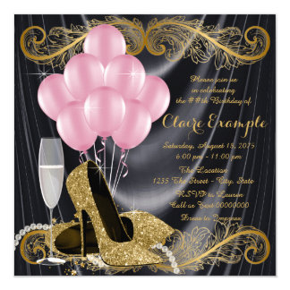 Black Gold Pink Birthday Party Hollywood Glamour Card