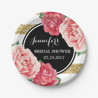 Black Gold Pink Flowers Bridal Shower Plate