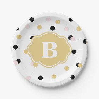 Black Gold Pink Polka Dot Monogram Paper Plate