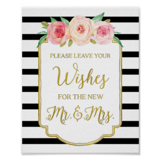 Black Gold Pink Watercolor Floral Guest Book Sign