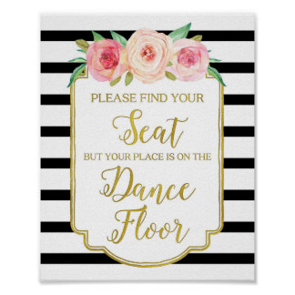 Black Gold Pink Watercolor Floral Wedding Sign Poster