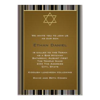Black Gold Pinstripe Star of David Bar Mitzvah Card