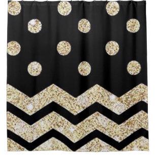 Black Gold Polka Dot And Chevron Shower Curtain