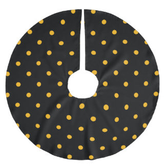 Black & Gold Polka Dots Brushed Polyester Tree Skirt