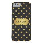 Black Gold Polka Dots Pattern - Luxury Glitter Barely There iPhone 6 Case