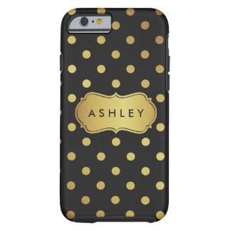 Black Gold Polka Dots Pattern - Luxury Glitter Tough iPhone 6 Case