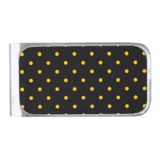 Black & Gold Polka Dots Silver Finish Money Clip