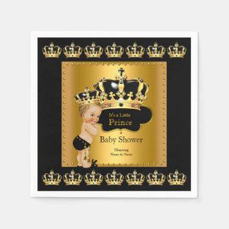 Black Gold Prince Crown Baby Shower Blonde Boy Paper Napkin