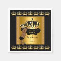 Black Gold Prince Crown Baby Shower Ethnic Napkin