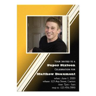 Black Gold Racing Stripe Birthday Party Invitation