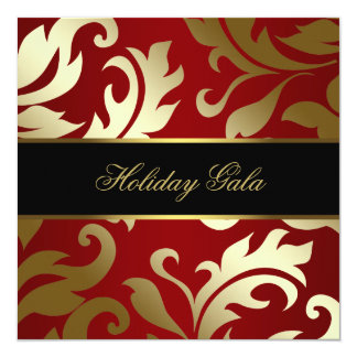 Black Gold Red Damask Holiday Party Invitations