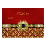 """Black gold red damask """"table number"""" wedding business card template"""