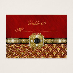 """Black gold red damask """"table number"""" wedding business card at Zazzle"""