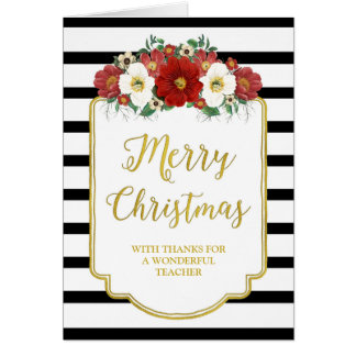 Black Gold Red Floral Merry Christmas Teacher Card
