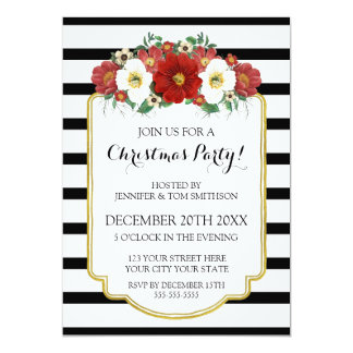 Black Gold Red Flowers Christmas Party Invitation