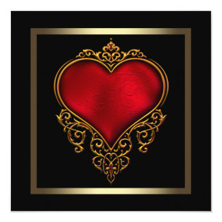 Black Gold Red Heart Wedding Card
