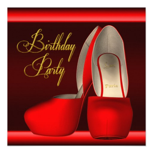 Black Gold Red High Heel Shoes Birthday Party Custom Invitations