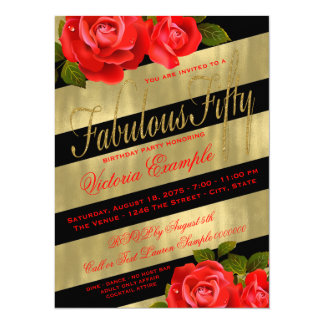 Black Gold Red Rose 50th Birthday 5.5x7.5 Paper Invitation Card