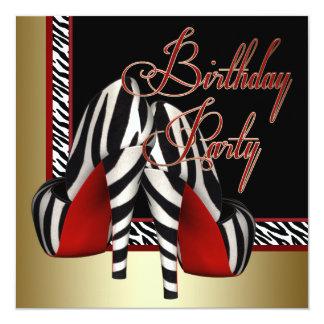 Black Gold Red Zebra High Heels Birthday Party Card