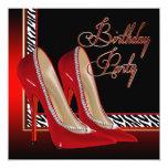 Black Gold Red Zebra High Heels Birthday Party Invite