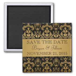 Black & Gold Regal Damask Flourish Save the Date 2 Inch Square Magnet