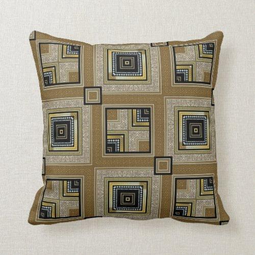 Black Gold Retro Art Deco Glam Cushion Pillow