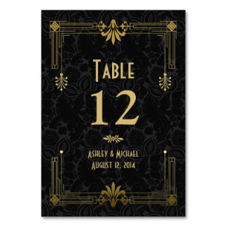 Black Gold Roaring 20s Art Deco Wedding Card