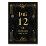 Black Gold Roaring 20s Art Deco Wedding Table Card