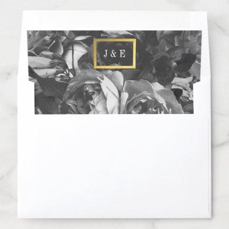 Black Gold Rose Bouquet Wedding Envelope Liner