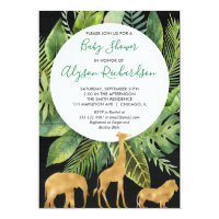 Black gold safari baby shower gender neutral invitation