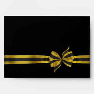 Black Gold Satin Ribbon Envelopes