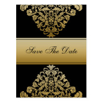 black gold save the date announcement postcard