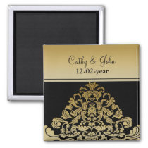black gold Save the date magnet