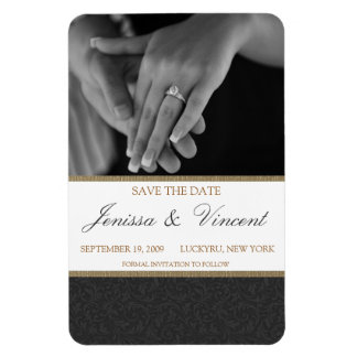 "Black & Gold Save the Date Magnet 4"" x 6"""