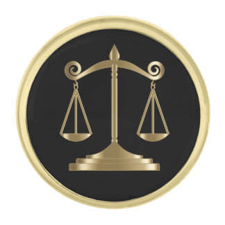 Black & Gold | Scale of Justice | Lawyer Gold Finish Lapel Pin