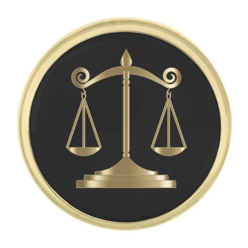 Black & Gold | Scales of Justice | Lawyer Gold Finish Lapel Pin