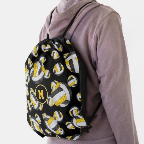 black gold school colors girly volleyballs drawstring bag