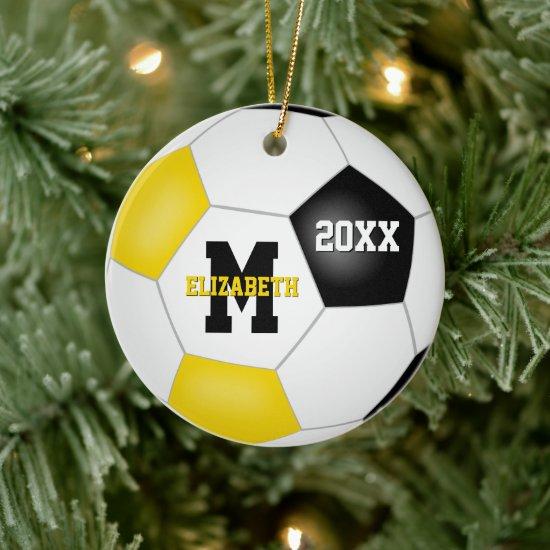 black gold school sports team colors soccer ceramic ornament