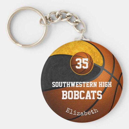 black gold school team spirit girls' basketball keychain