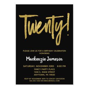 Black Gold Script 20th Birthday Party Invitation