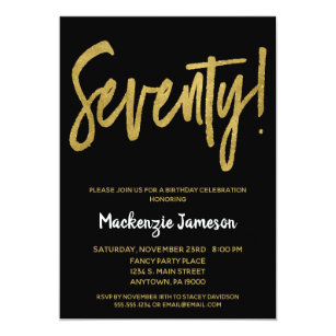 Black Gold Script 70th Birthday Party Invitation