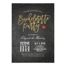 Black & Gold Script Chalkboard Bachelorette Party Card