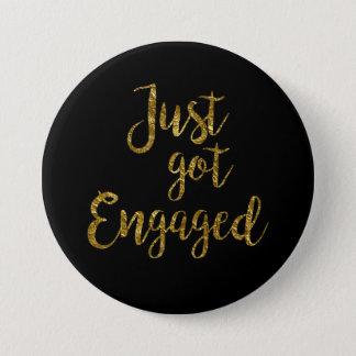 Black & Gold Script Just got Engaged Button