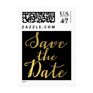Black & Gold Script Save the Date Postage Stamp