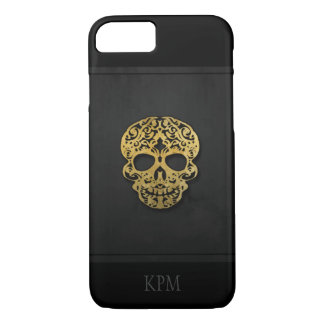 Black & Gold Scroll Skull with Initials or Text iPhone 7 Case