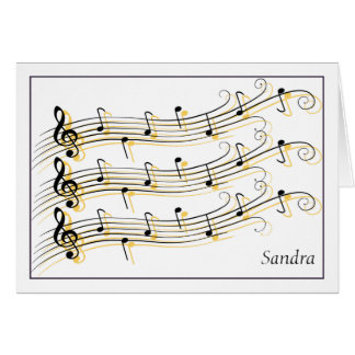 Black & Gold Scrolled Music Staffs Note Card